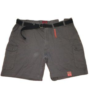 Foundry Mens Gray Belted Cargo Shorts 48 Waist NWT